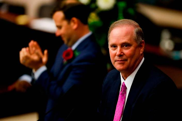 Senate President Wilton Simpson, R-Spring Hill, pauses during the joint session of the Florida Legislature at the Capitol in Tallahassee on March 2.