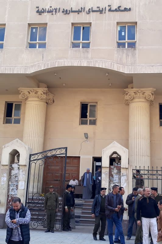 FILE PHOTO: A general view outside the court where two monks were convicted of murdering Bishop Epiphanius of Saint Macarius Monastery northwest of Cairo, in Damanhour