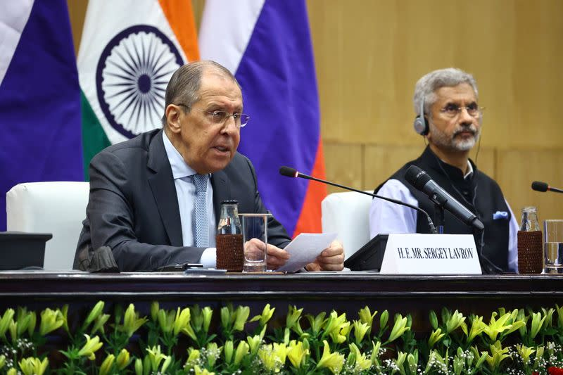 Russia's Foreign Minister Lavrov and his Indian counterpart Jaishankar attend a news conference in New Delhi