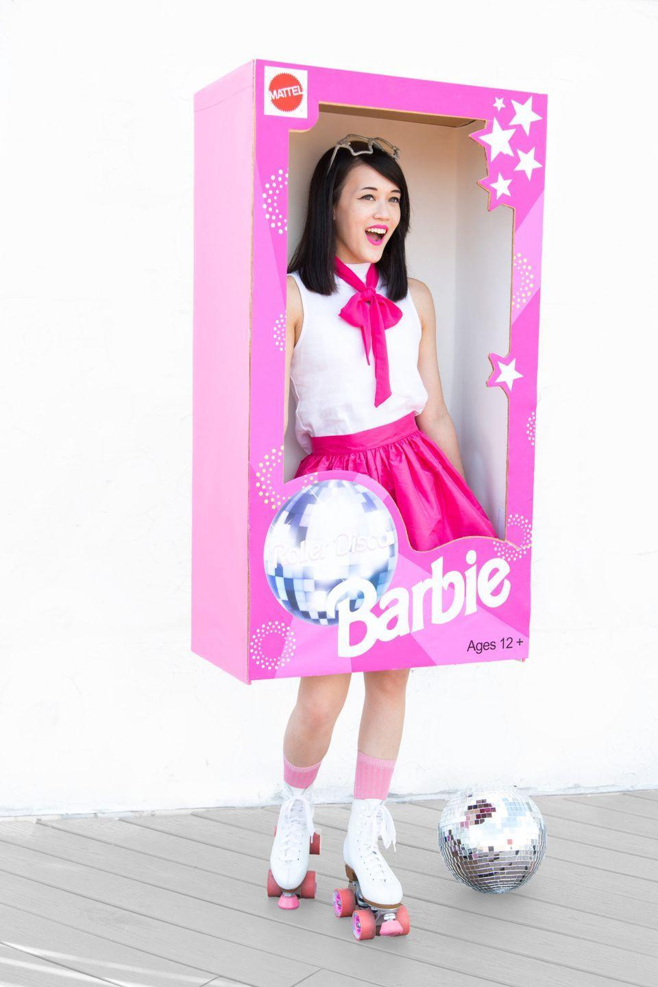 """<p>Your teen will want to roll with this ultra-cute and clever costume whether or not she's still got her favorite Barbies tucked away somewhere. The project even comes with a Roller Disco Barbie box print-out to make the costume easy to assemble.</p><p><strong>Get the tutorial at <a href=""""http://www.awwsam.com/2016/09/diy-roller-disco-barbie-halloween.html"""" rel=""""nofollow noopener"""" target=""""_blank"""" data-ylk=""""slk:Aww Sam"""" class=""""link rapid-noclick-resp"""">Aww Sam</a>.</strong> </p><p><a class=""""link rapid-noclick-resp"""" href=""""https://www.amazon.com/Savage-Widetone-Seamless-Background-Paper/dp/B000AD4LMU/ref=sr_1_15?tag=syn-yahoo-20&ascsubtag=%5Bartid%7C10050.g.22118522%5Bsrc%7Cyahoo-us"""" rel=""""nofollow noopener"""" target=""""_blank"""" data-ylk=""""slk:SHOP PINK WRAPPING PAPER"""">SHOP PINK WRAPPING PAPER</a></p>"""