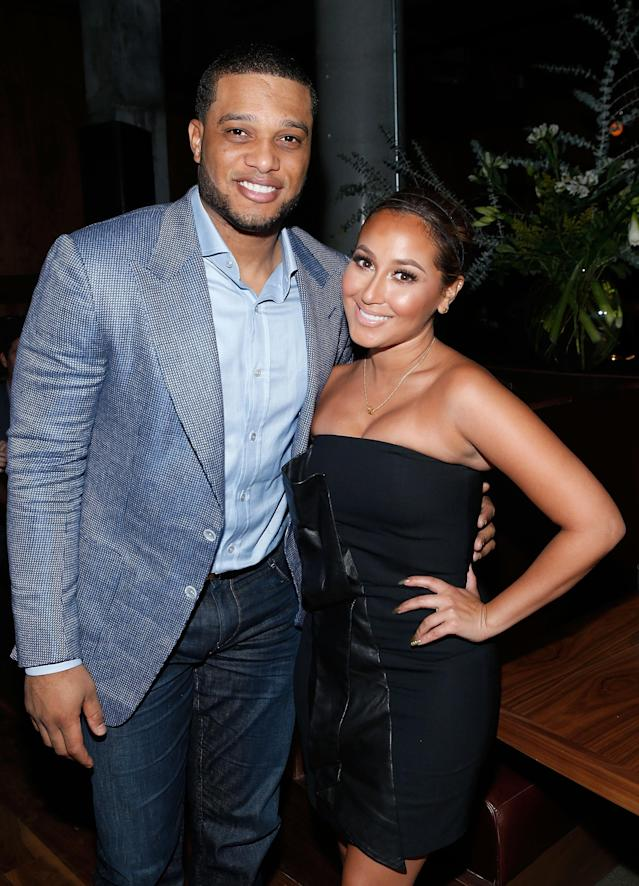 NEW YORK, NY - NOVEMBER 19: New York Yankee Robinson Cano and actress/singer Adrienne Bailon attend the Tequila Baron Launch Party at Butter Restaurant on November 19, 2013 in New York City. (Photo by Jemal Countess/Getty Images for Tequila Baron)