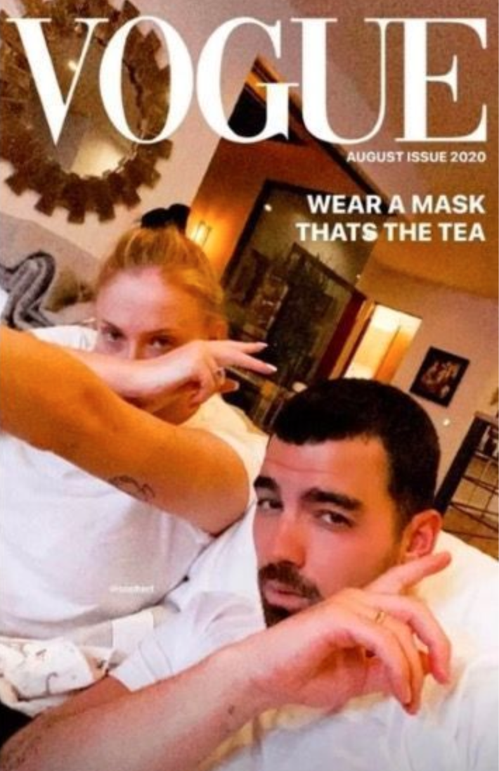 Joe Jonas and Sophie Turner pose for a fake Vogue cover encouraging people to wear a mask. (Photo: Instagram/Joe Jonas)