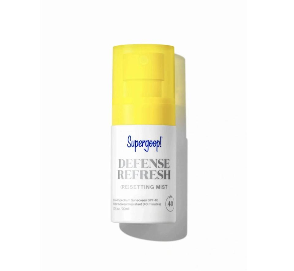 <p>If you struggle to remember to apply sunscreen, you'll see the <span>Supergoop! Defense Refresh (Re)setting Mist SPF 40</span> ($14) as a miracle. It covers your complexion with a protective layer of SPF 40, all while setting your makeup and controlling oil. We've worn it everywhere from music festivals to beach getaways and remain consistently impressed by the effective formula.</p>