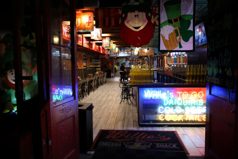 An empty bar is pictured in the French Quarter neighborhood of New Orleans