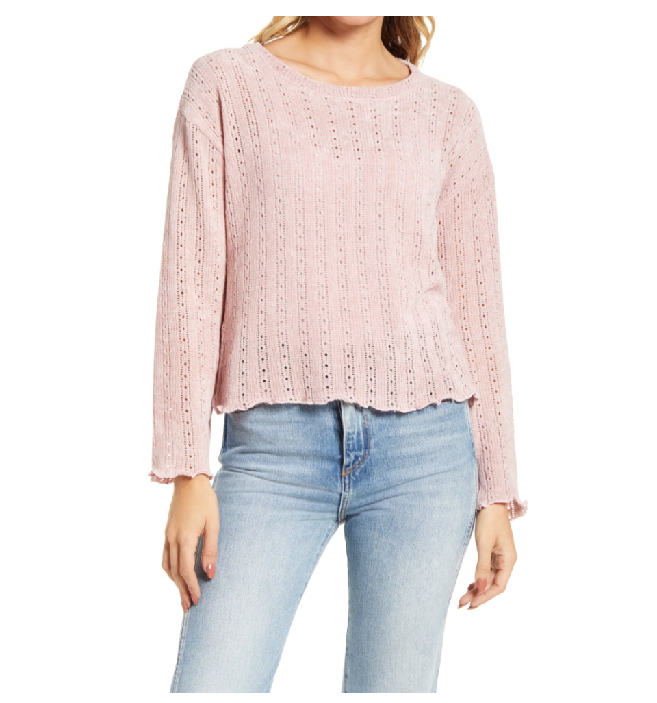 Cotton Emporium Pointelle Chenille Sweater. Image via Nordstrom.