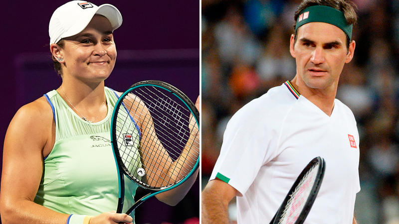 Ash Barty and Roger Federer, pictured here in action during the early part of 2020.
