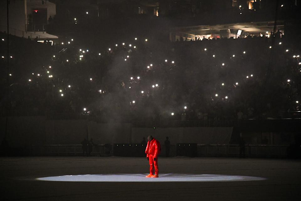 ATLANTA, GEORGIA - JULY 22: Kanye West is seen at 'DONDA by Kanye West' listening event at Mercedes-Benz Stadium on July 22, 2021 in Atlanta, Georgia. (Photo by Kevin Mazur/Getty Images for Universal Music Group)