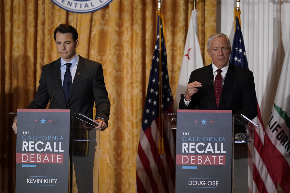Republican candidates for California Governor Doug Ose, right, and Kevin Kiley participate in a debate at the Richard Nixon Presidential Library Wednesday, Aug. 4, 2021, in Yorba Linda, Calif. California Gov. Gavin Newsom faces a Sept. 14 recall election that could remove him from office. (AP Photo/Marcio Jose Sanchez)