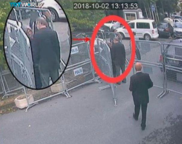 PHOTO: This image taken from CCTV video made available Sunday, Oct. 21, 2018, purportedly showing Saudi journalist Jamal Khashoggi talking to his fiancee Hatice Cengiz, seen in expanded view, before entering the Saudi consulate in Istanbul, Oct. 2, 2018. (CCTV/TRT World via AP)