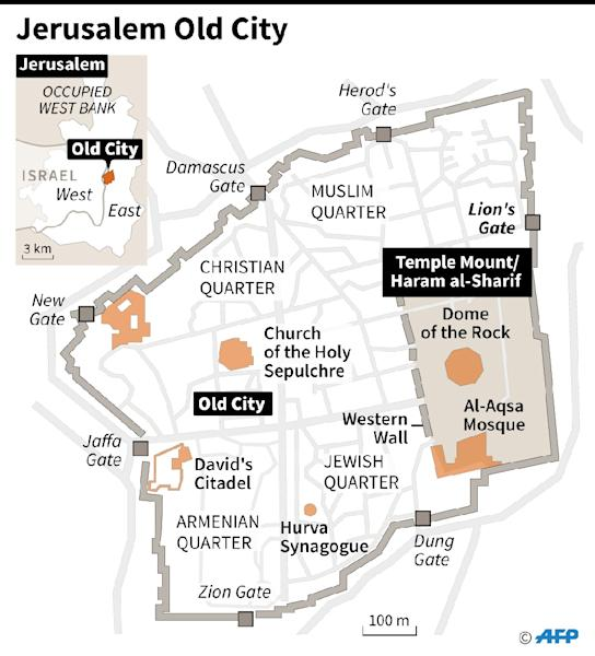 Map of Jerusalem Old City locating the site known to Muslims as the Haram al-Sharif and to Jews as the Temple Mount. (AFP Photo/AFP)