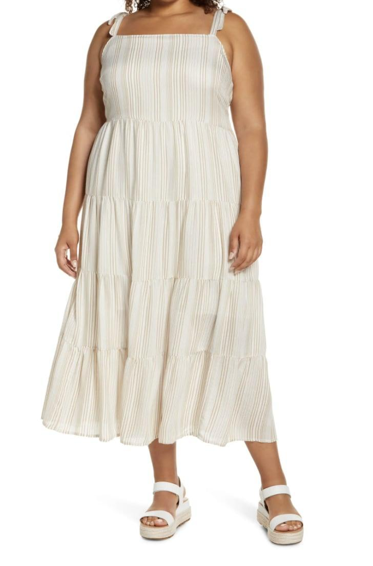 <p>Pair this <span>Caslon Tie Shoulder Tiered Maxi Dress</span> ($89) with a straw hat and some platform wedge sandals for a chic beach day.</p>