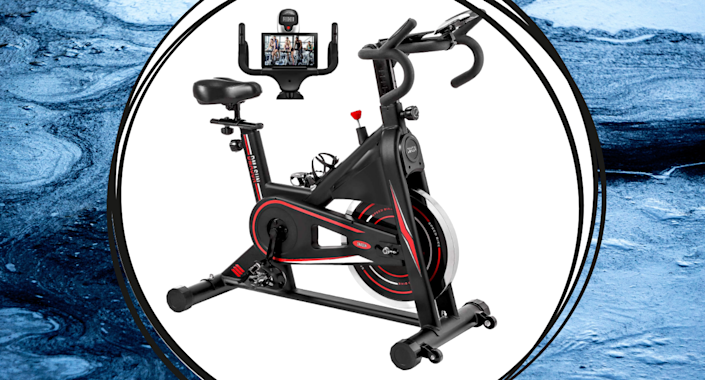 amazon black and red stationary bike with tablet screen
