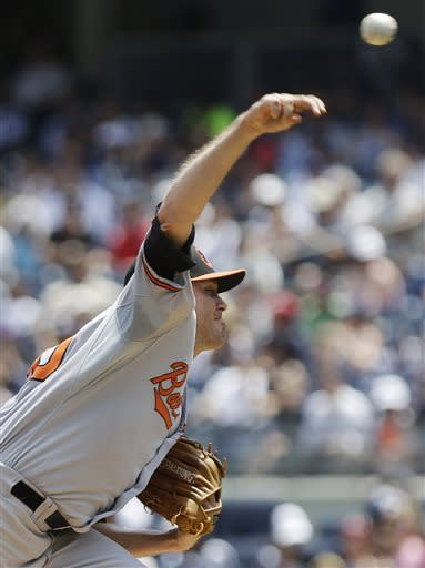 Baltimore Orioles' Chris Tillman delivers a pitch during the first inning of a baseball game against the New York Yankees on Saturday, July 6, 2013, in New York. (AP Photo/Frank Franklin II)