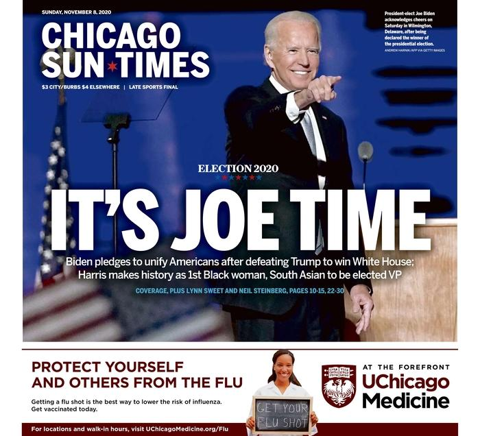 "Chicago Sun-Times, Published in Chicago, Ill. USA (<a href=""https://www.newseum.org/todaysfrontpages/?tfp_display=list&tfp_id=IL_CST"" rel=""nofollow noopener"" target=""_blank"" data-ylk=""slk:Newseum"" class=""link rapid-noclick-resp"">Newseum</a>)"