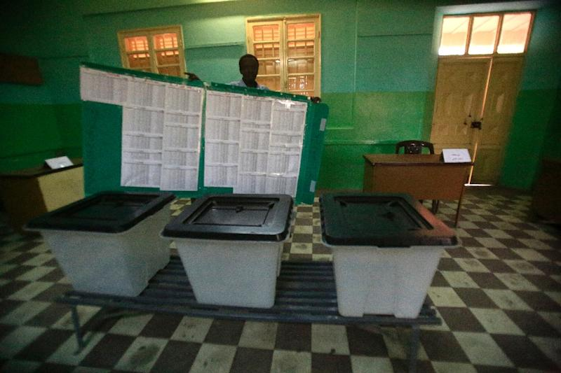 A Sudanese election official prepares ballot boxes at the Saint Francis school turned into a polling station in the capital Khartoum on April 12, 2015, on the eve of the presidential and parliamentary elections (AFP Photo/Ashraf Shazly)
