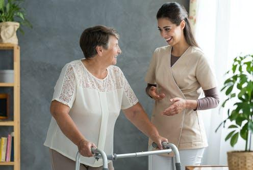 """<span class=""""caption"""">Care has come a long way.</span> <span class=""""attribution""""><a class=""""link rapid-noclick-resp"""" href=""""https://www.shutterstock.com/image-photo/woman-parkinsons-disease-chatting-about-progress-711300166"""" rel=""""nofollow noopener"""" target=""""_blank"""" data-ylk=""""slk:Shutterstock/Photographee.eu"""">Shutterstock/Photographee.eu</a></span>"""