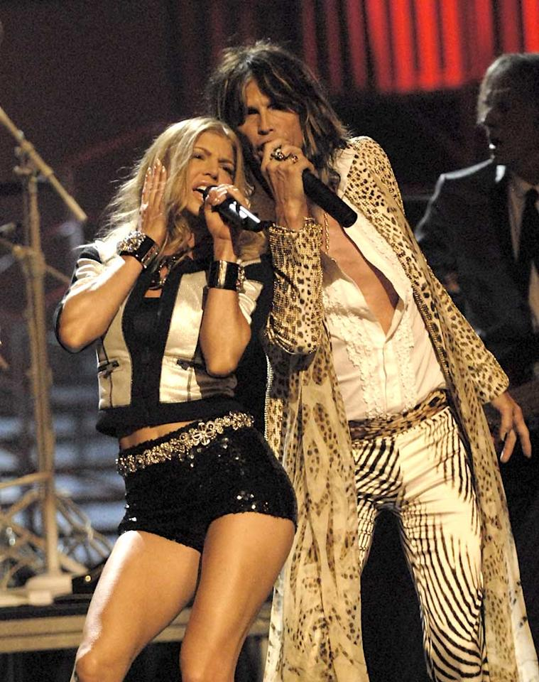 "Fergie and Aerosmith's Steven Tyler rock Radio City Music Hall. Kevin Mazur/<a href=""http://www.wireimage.com"" target=""new"">WireImage.com</a> - September 6, 2007"