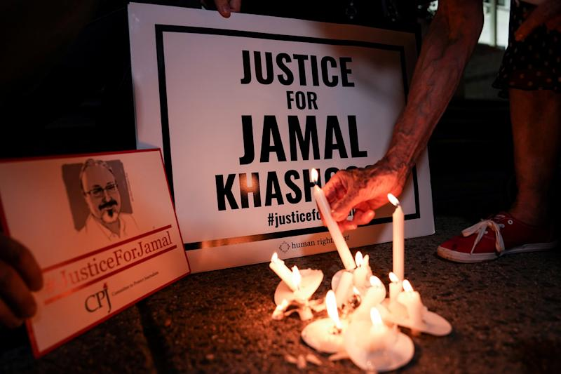 The Committee to Protect Journalists and other press freedom activists hold a candlelight vigil in front of the Saudi Embassy to mark the anniversary of the killing of journalist Jamal Khashoggi at the kingdom's consulate in Istanbul, Wednesday evening in Washington, U.S., October 2, 2019. REUTERS/Sarah Silbiger.
