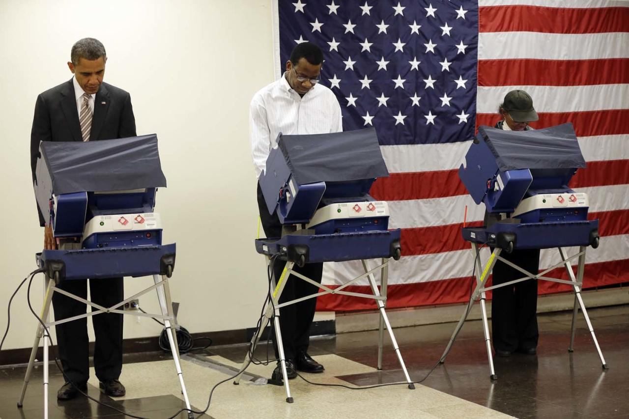 President Barack Obama, left, casts his vote during early voting in the 2012 election Thursday, Oct. 25, 2012, in Chicago, at the Martin Luther King Community Center. (AP Photo/Pablo Martinez Monsivais)