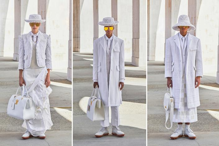 "Looks from the Thom Browne spring and summer 2021 men's and women's collection presented via a short film on Oct. 4 during Paris Fashion Week. <span class=""copyright"">(Thom Browne)</span>"