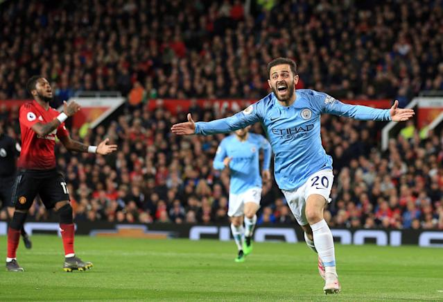 "Bernardo Silva scored the game winner Wednesday in <a class=""link rapid-noclick-resp"" href=""/soccer/teams/manchester-city/"" data-ylk=""slk:Manchester City"">Manchester City</a>'s 2-0 victory over against <a class=""link rapid-noclick-resp"" href=""/soccer/teams/manchester-united/"" data-ylk=""slk:Manchester United"">Manchester United</a> that could end up giving City its second straight Premier League title. (Jon Super/AP)"