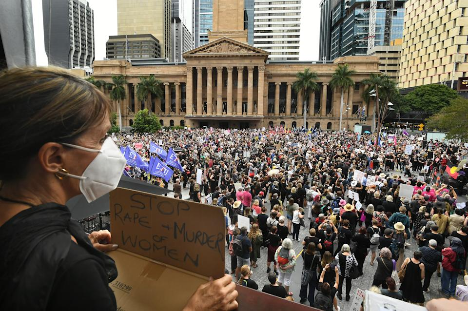 Large crowds are seen gathering for the Women's March 4 Justice in Brisbane last week. Source: AAP