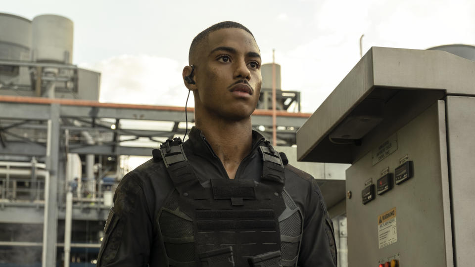 Keith Powers plays military man Major Greenwood in 'The Tomorrow War'. (Amazon Prime Video)