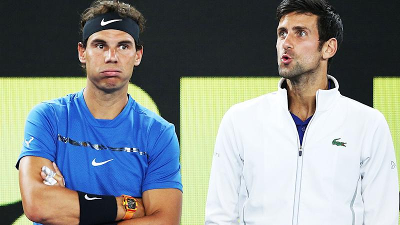 Rafael Nadal and Novak Djokovic, pictured here ahead of the Australian Open in 2019.