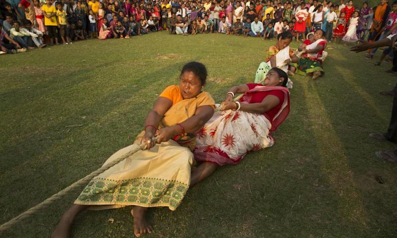 A tug-of-war during Suwori tribal festival in Assam.