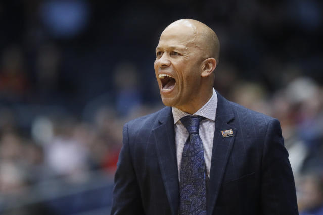 Prairie View A&M head coach Byron Smith shouts during the first half of a First Four game of the NCAA college basketball tournament against Fairleigh Dickinson, Tuesday, March 19, 2019, in Dayton, Ohio. (AP Photo/John Minchillo)