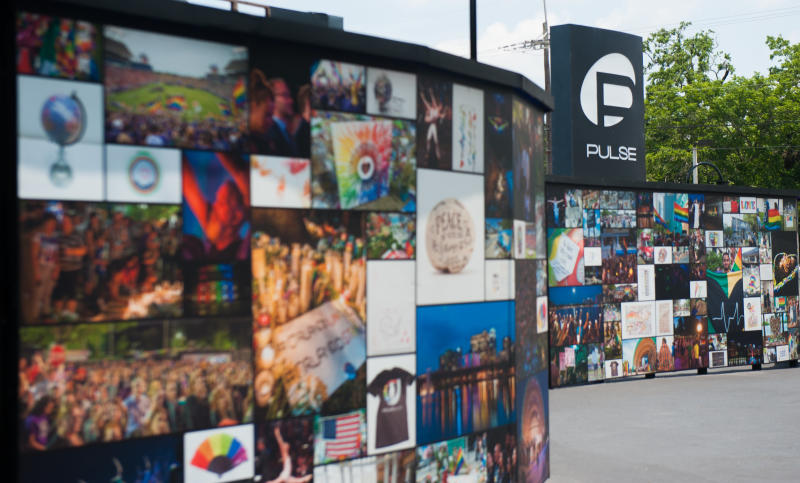 The new interim Pulse memorial now has walls made up of photo collages.