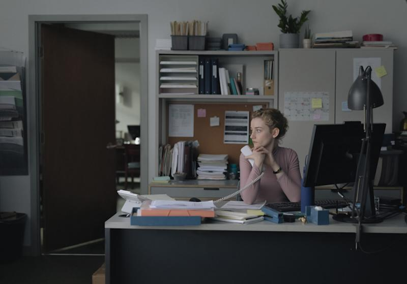 Julia Garner in a still from The Assistant. (Vertigo)