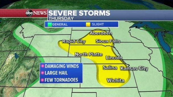 PHOTO: Severe storms are forecast for much of the Midwest on Thursday. (ABC News)