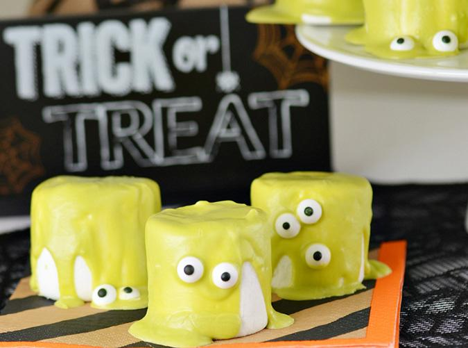 """<h2>2. Halloween Monster Marshmallows</h2> <p>Complete with droopy, googly eyes.</p> <p><a class=""""cta-button-link"""" href=""""http://www.findingzest.com/halloween-monster-marshmallows.html"""" target=""""_blank"""">Get the recipe</a></p>"""