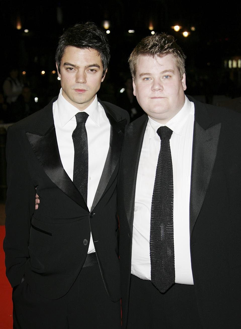 "Dominic Cooper (left) and James Corden arrive at the UK film Premiere of ""The History Boys"" in 2006.  (Photo by MJ Kim/Getty Images)"