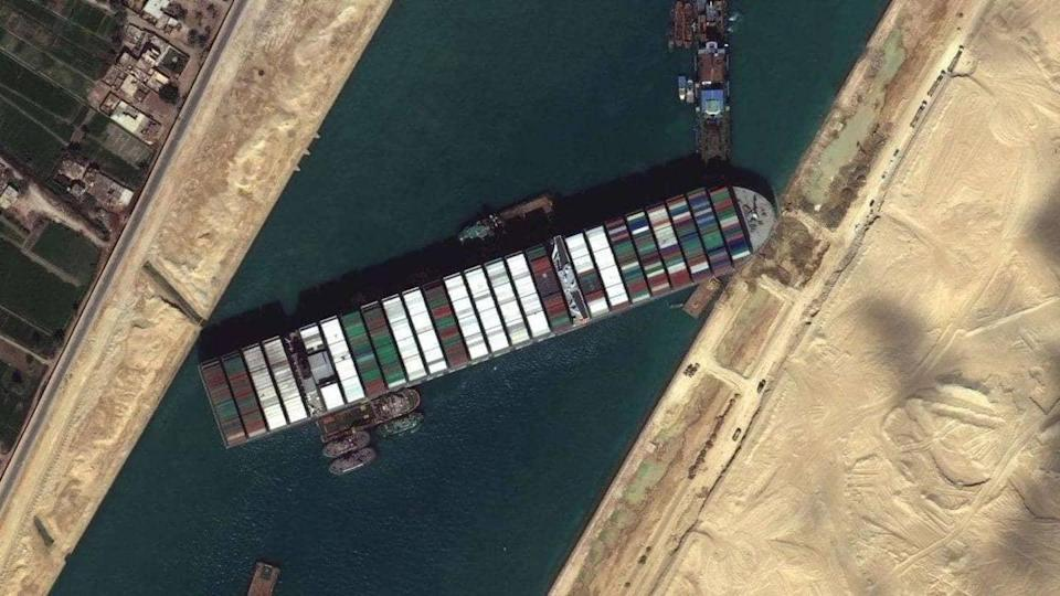 Ever Given: Cargo ship stuck in Suez Canal