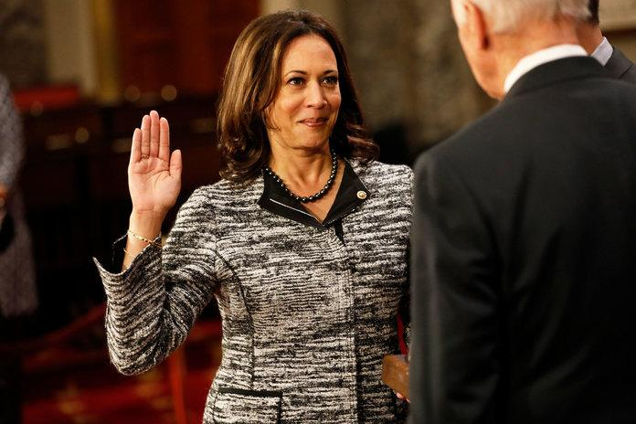 In January 2017, Harris was sworn in to the Senate by Vice President Joe Biden; she's the country's second African-American woman and the first woman of South-Asian descent elected to the Senate. | Aaron P. Bernstein/Getty Images