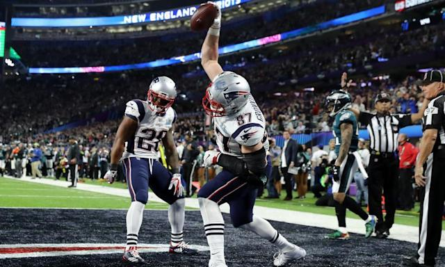 "<span class=""element-image__caption"">There's no word on whether <a class=""link rapid-noclick-resp"" href=""/nfl/players/24017/"" data-ylk=""slk:Rob Gronkowski"">Rob Gronkowski</a> will bring along his famous 'Gronk spike should he head off to Hollywood.</span> <span class=""element-image__credit"">Photograph: Elsa/Getty Images</span>"
