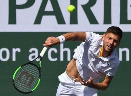 Mar 12, 2018; Indian Wells, CA, USA; Filip Krajinovic (not pictured) during his third round match against Roger Federer (SUI) in the BNP Paribas Open at the Indian Wells Tennis Garden. Mandatory Credit: Jayne Kamin-Oncea-USA TODAY Sports