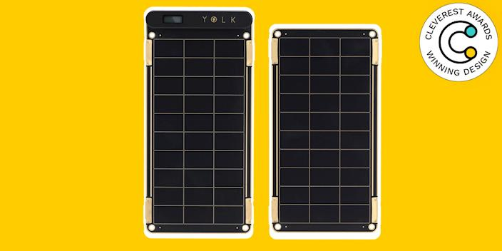 Solar Battery Charger by Yolk Don't be that person who needs to charge their phone behind the bar at the restaurant. Get ahead of the game with this incredibly thin and incredibly light solar charger, which is compatible with almost any device that recharges via USB and can power up while you're out and about. The panel opens into two, for when you need more power to charge larger devices, and easily hangs from a backpack or bag. Plus, the pieces are water-resistant and connect together with simple magnets, so you don't need to be precious about it. $225, poketo.com
