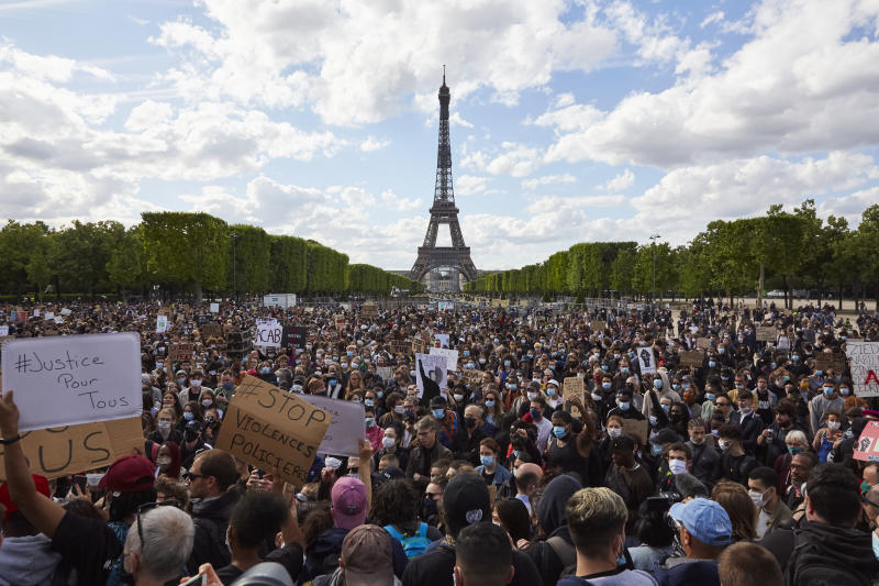 People take part in a demonstration in support of the movement Black Lives Matter, in Paris, France, on June 6, 2020 (Photo by Adnan Farzat/NurPhoto via Getty Images)
