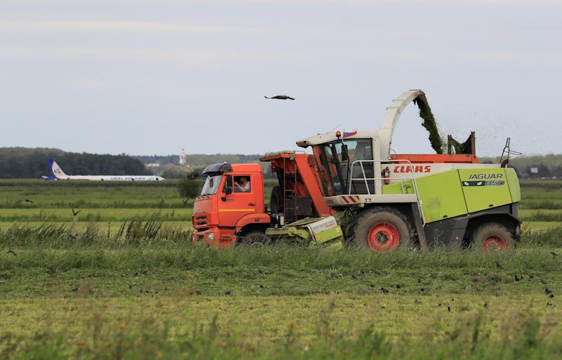 Drivers operate a combine and a truck in a filed near the site of the Ural Airlines Airbus 321 passenger plane's emergency landing in Moscow Region, Russia August 15, 2019. REUTERS/Tatyana Makeyeva