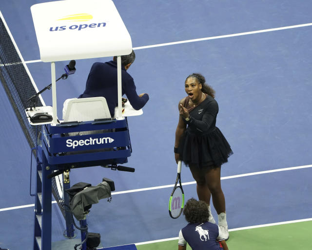 FILE - In this Saturday, Sept. 8, 2018, file photo, Serena Williams argues with the chair umpire during a match against Naomi Osaka, of Japan, in the women's finals of the U.S. Open tennis tournament at the USTA Billie Jean King National Tennis Center in New York. Tennis star Serena Williams is slated to give a speech in Las Vegas Friday, Sept. 15, 2018, amid debate about gender equality in sports spurred by an argument she had with the chair umpire at her U.S. Open finals match in New York. (Photo by Greg Allen/Invision/AP, File)