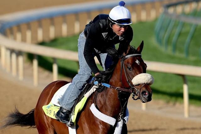 LOUISVILLE, KY - APRIL 26: Java's War, trained by Ken McPeek, is riden during the morning excercise session in preparation for the 139th Kentucky Derby at Churchill Downs on April 26, 2013 in Louisville, Kentucky. (Photo by Matthew Stockman/Getty Images)