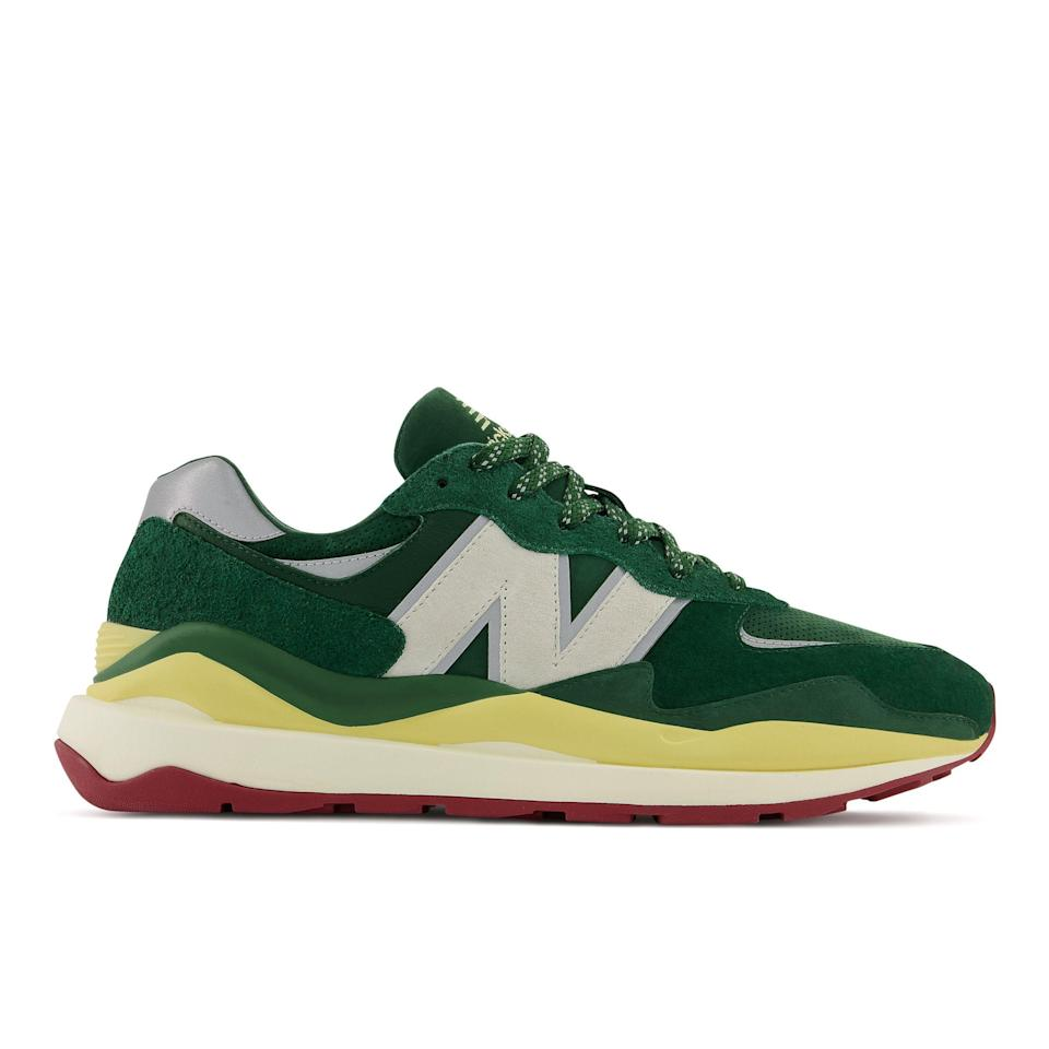 """<p><strong>New Balance x Bricks & Wood</strong></p><p>bricksandwood.us</p><p><strong>$150.00</strong></p><p><a href=""""https://bricksandwood.us/"""" rel=""""nofollow noopener"""" target=""""_blank"""" data-ylk=""""slk:SHOP BRICKS & WOOD"""" class=""""link rapid-noclick-resp"""">SHOP BRICKS & WOOD</a></p><p>New Balance continues its hot streak this week alongside South Central, L.A.-based brand Bricks & Wood. The new riff on the 57/40 in red, yellow, and green (you just don't see enough green sneakers these days) is available on May 28 on Bricks & Wood's site, and at New Balance in a wider release on June 4.</p>"""