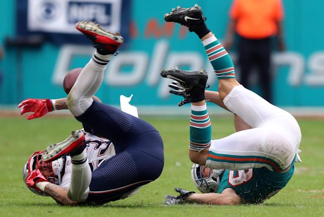 <p>Miami Gardens, FL 12-9-18: Patriots DB Patrick Chung (left) and Dolphins WR Danny Amendola (right) strike similar poses as an incomplete pass eluded both of them.The New England Patriots visited the Miami Dolphins in a regular season NFL football game at Hard Rock Stadium. (Jim Davis/Globe Staff) </p>