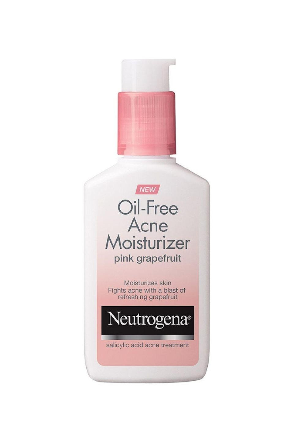 """<p><strong>Neutrogena</strong></p><p>amazon.com</p><p><strong>$6.67</strong></p><p><a href=""""https://www.amazon.com/dp/B00NR1YQKO?tag=syn-yahoo-20&ascsubtag=%5Bartid%7C10058.g.34399769%5Bsrc%7Cyahoo-us"""" rel=""""nofollow noopener"""" target=""""_blank"""" data-ylk=""""slk:SHOP IT"""" class=""""link rapid-noclick-resp"""">SHOP IT</a></p><p>Teens and twenty-somethings alike will appreciate the .5 percent salicylic acid—which can quell breakouts—and the lotion's lightweight and readily absorbed finish. Also the pink grapefruit scent is undeniable. </p>"""