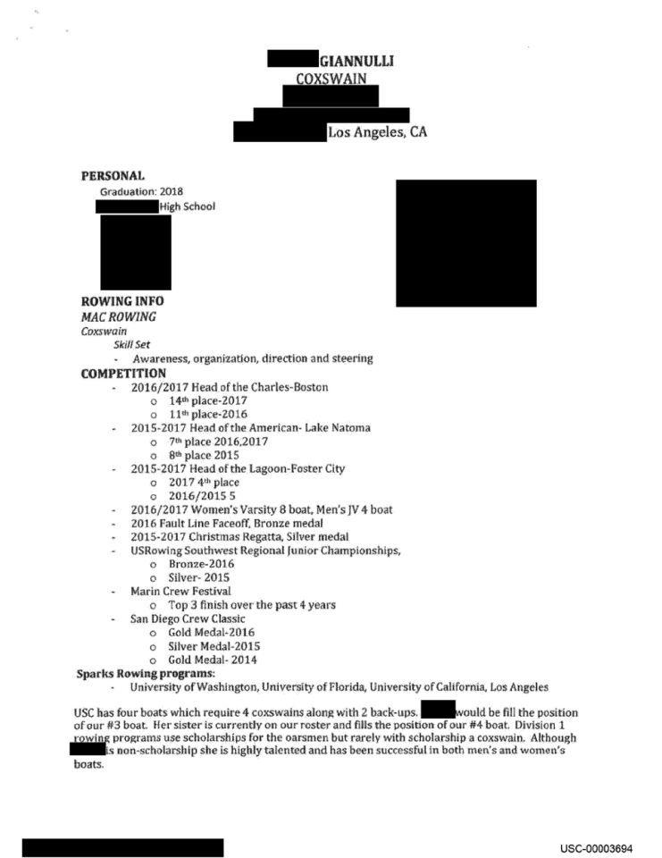 Olivia Jade's fake rowing resume. (Image: United States District Court District of Massachusetts Official Court Electronic Document Filing System)
