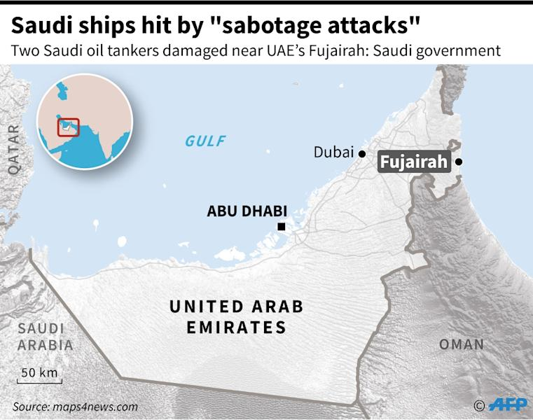 "Map of the UAE locating Fujaira, near where two Saudi oil tankers were damaged in ""sabotage attacks"", the Saudi government said. (AFP Photo/Jean Michel CORNU)"