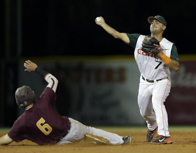 Bethune-Cookman's Matt Noble (6) is forced out at second base as Miami second baseman Alexander Hernandez (7) throws out Jordan Robinson at first base to complete the double play during the ninth inning of an NCAA college baseball regional tournament game in Coral Gables, Fla., Friday, May 30, 2014. Miami won 1-0. (AP Photo/Alan Diaz)
